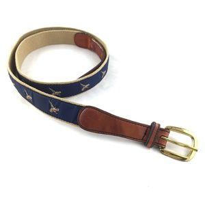 Other - Leather canvas belt brass buckle pheasant birds 42